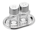 'VINTAGE' SILVER PLATED SALT & PEPPER SHAKET SET WITH TRAY.  ITALY