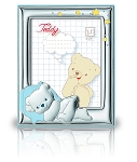 STERLING SILVER Picture Frame Featuring SLEEPING BEAR (5
