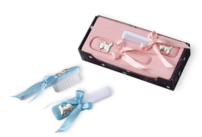 Baby Hair Brush And Comb Gift Set With Sterling Silver