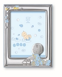 STERLING SILVER Picture Frame for Boy /Girl + BOOKLET. Made in ITALY