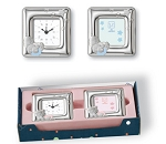 STERLING SILVER PICTURE FRAME and ALARM CLOCK Gift SET (Blue or Pink).  Made in ITALY