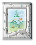 STERLING SILVER Picture Frame DOLPHINS.  Made in ITALY