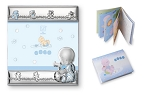 STERLING SILVER Picture Frame BABY BOY + BOOKLET. Made in ITALY