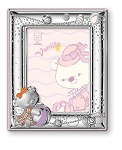 STERLING SILVER Picture Frame VANILLA BEAR Playing.  Made in ITALY