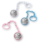 STERLING SILVER PACIFIER CLIP / HOLDER ANGELS (6 pcs Set.). Made in ITALY