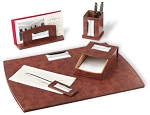 Elegant, 5-piece EXECUTIVE DESK SET, Made of STERLING SILVER and LEATHER. Engraveable. ITALY