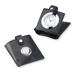 TRAVEL ALARM CLOCK in Leather Case w/Sterling Silver. Engraveable. Made in ITALY