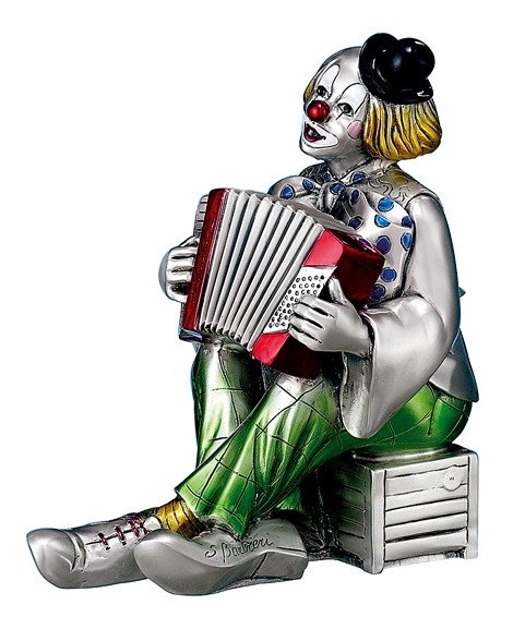 Silver Plated Clown with Accordion, Hand Crafted,  Made in ITALY
