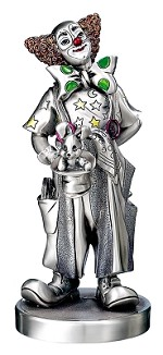 Silver Plated,  Clown Magician, Hand Crafted,  Large. Made in ITALY