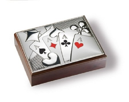 Luxurious STERLING SILVER BURACO POKER CARD GAME SET ANY CASE With MAHOGANY CASE.  ITALY