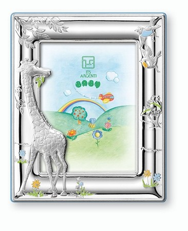 STERLING SILVER Picture Frame GIRAFFE.  Italy