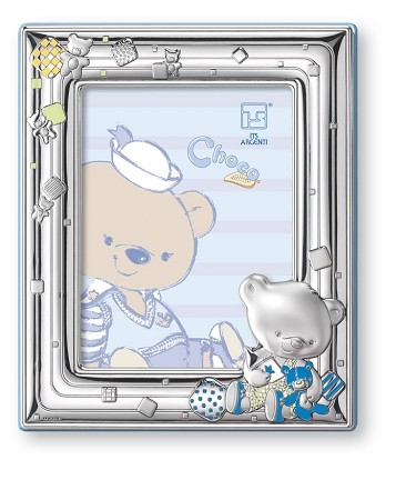 STERLING SILVER Picture Frame CHOCO BEAR. Made in ITALY