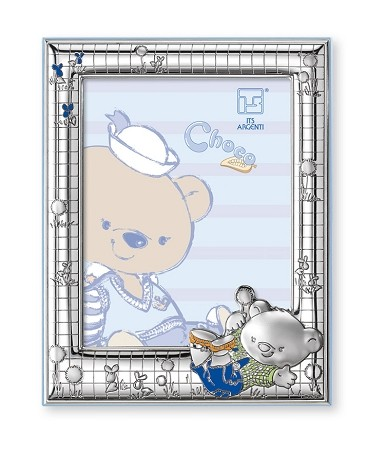 "STERLING SILVER Picture Frame CHOCO BEAR in the Meadows. 4"" x 6"". Made in ITALY"