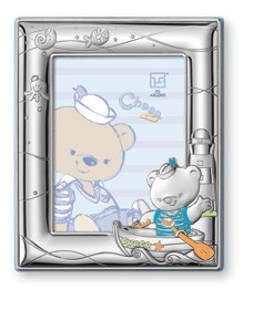 "STERLING SILVER Picture Frame CHOCO BEAR  in a BOAT (5"" x 7""). Made in ITALY"