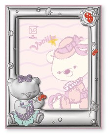 "STERLING SILVER Picture Frame VANILLA Bear. (5"" x 7""). Made in ITALY"