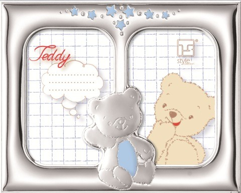 "STERLING SILVER DOUBLE PICTURE FRAME ""BEAR"".  Made in ITALY"