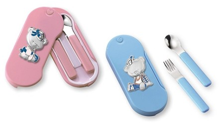 BABY UTENSIL-SET with STERLING SILVER BEAR. Made in ITALY (PINK or BLUE)