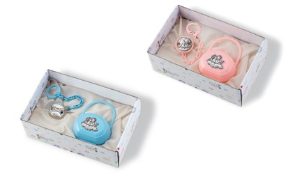 PACIFIER CASE and a PACIFIER CLIP HOLDER Gift SET with STERLING SILVER ANGELS. Made in ITALY