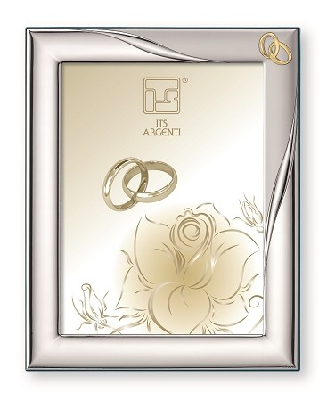 "STERLING SILVER PICTURE FRAME ""INTERLOCKING RINGS"". Made in ITALY"