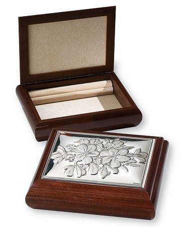 STERLING SILVER  JEWELRY BOX Organizer FLOWERS  (Large) Made in ITALY