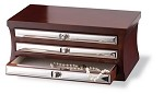 STERLING SILVER & MAHOGANY JEWELRY CHEST W/3 DRAWERS. Made in ITALY