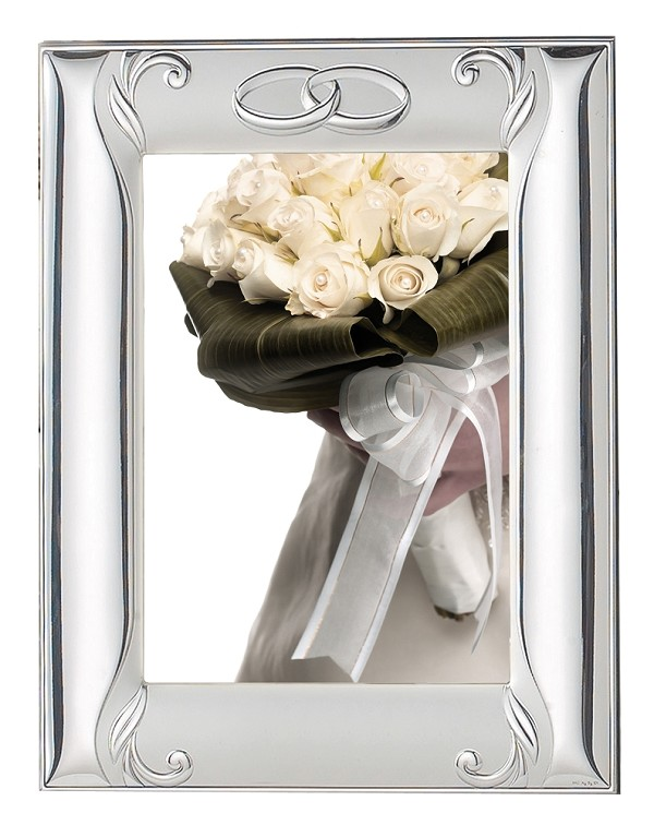 "STERLING SILVER ANNIVERSARY Picture Frame and Mirror 8"" x 10"". Made in ITALY"