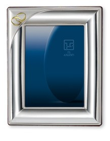 "GOLD & STERLING SILVER ANNIVERSARY PICTURE FRAME  ""INTERLOCKING RINGS"" (8"" x 10""). Made in ITALY"
