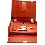 ONE-OF-A-KIND, LEATHER & STERLING SILVER Executive Desk SET, Made in ITALY