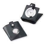 TRAVEL ALARM CLOCK in Leather Case w/Sterling Silver. Made in ITALY