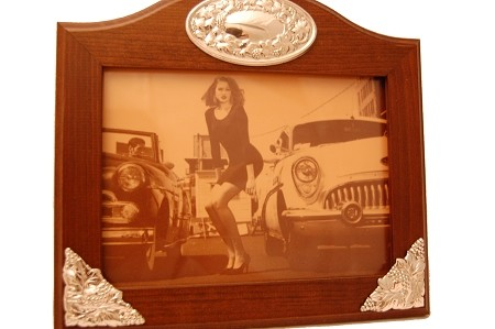 Horizontal Wooden STERLING SILVER Picture Frame.  Italy