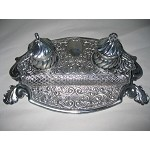 Antique Ornate STERLING SILVER INKWELL and PEN TRAY. Made in ITALY